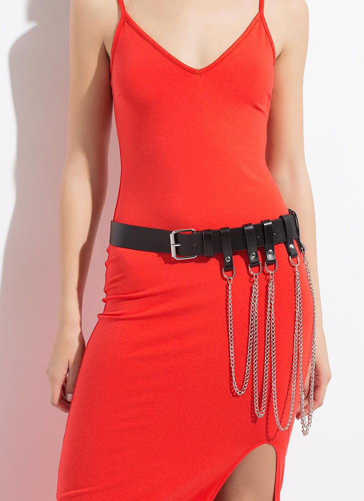 The Chicest Link Draped Chain Belt BLACKSILVER