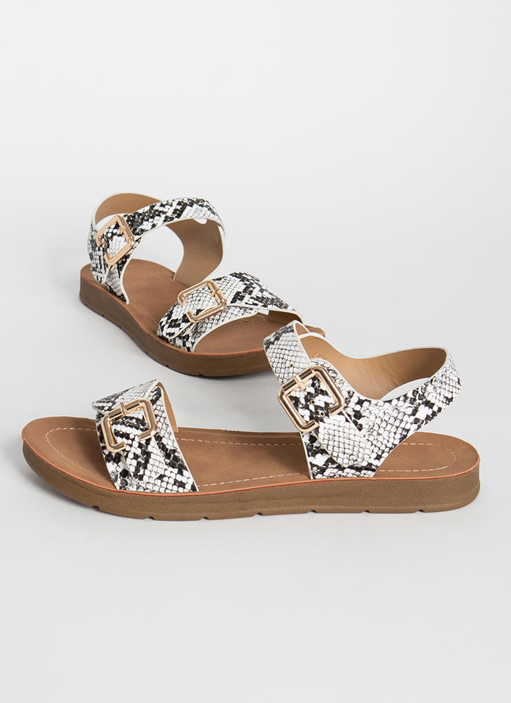 Wild Things Buckled Snake Print Sandals BLACKWHITE