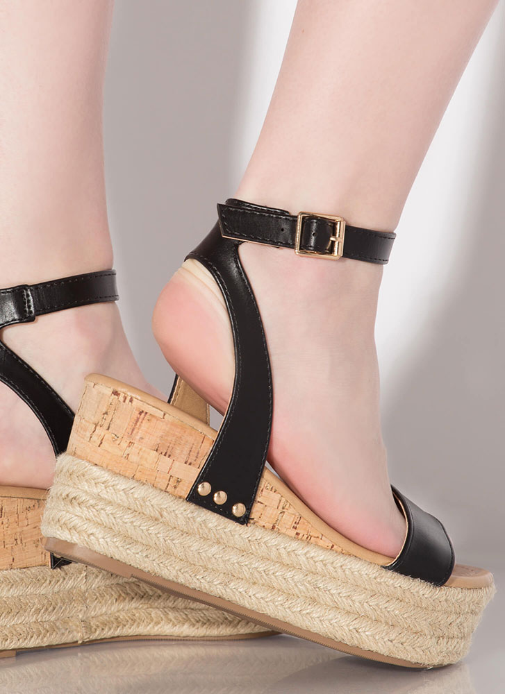 Travel Bug Braided Platform Wedges BLACK