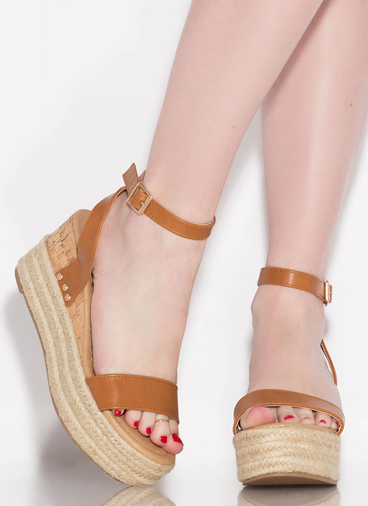 Travel Bug Braided Platform Wedges WHISKEY