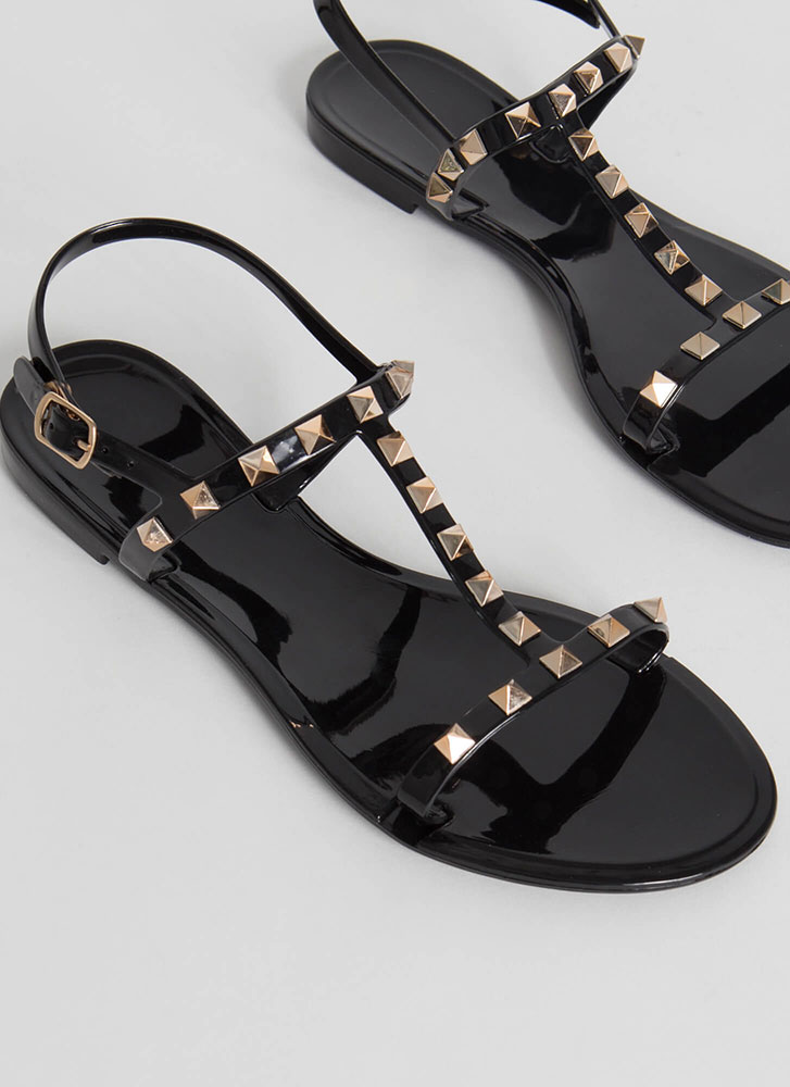 Extra Edge Strappy Studded Sandals BLACK