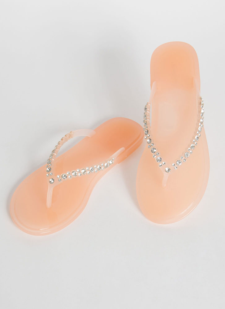 Sparkly Beaches Jeweled Jelly Sandals NUDE