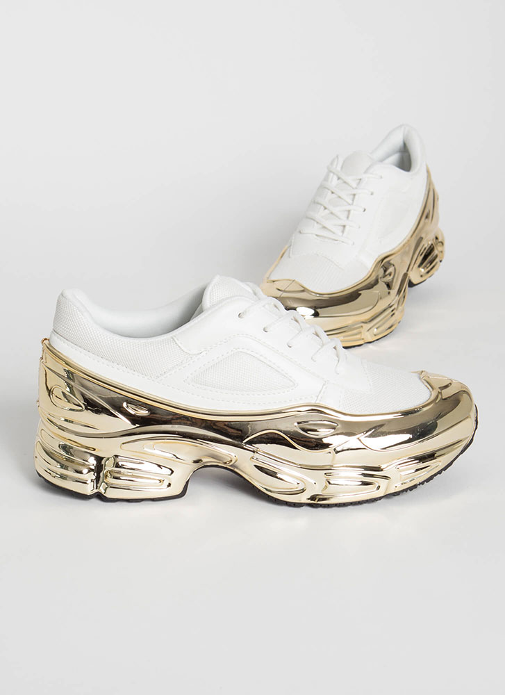 Plated Cool Glossy Coated Sneakers WHITE