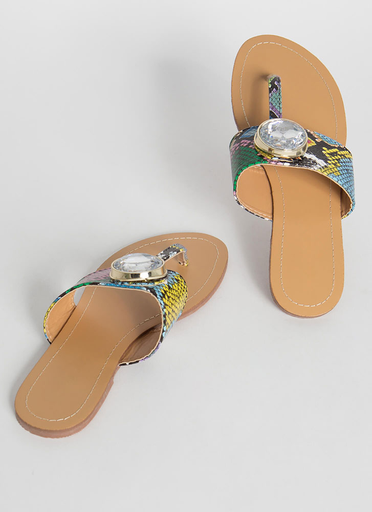 Gem Class Snake Print T-Strap Sandals MULTI