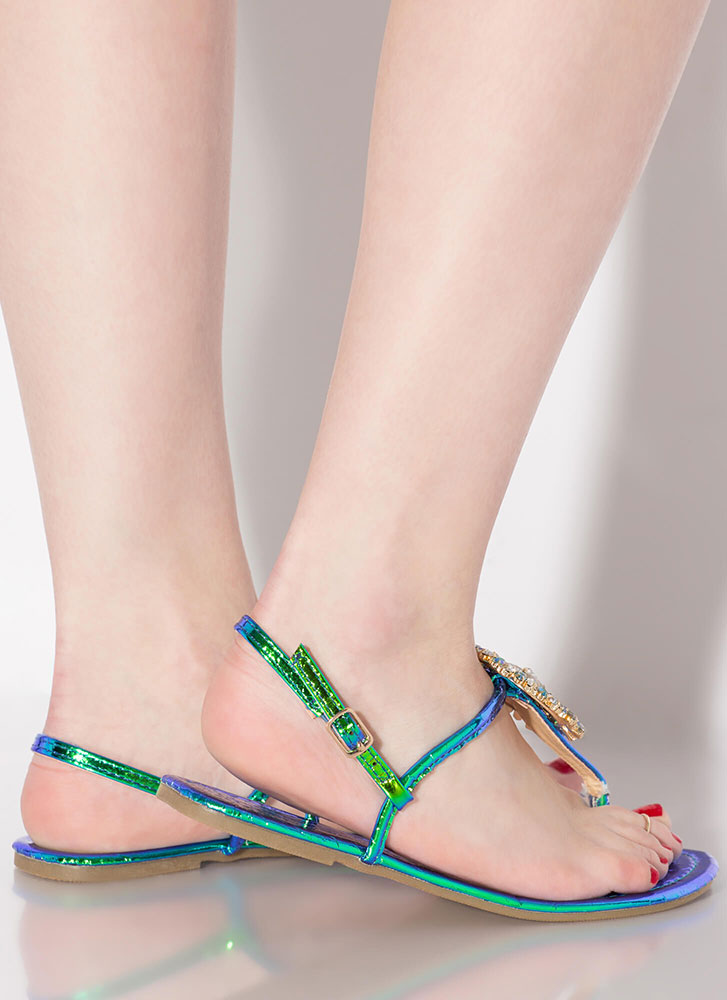 Big Sparkle Metallic Jeweled Sandals GREEN