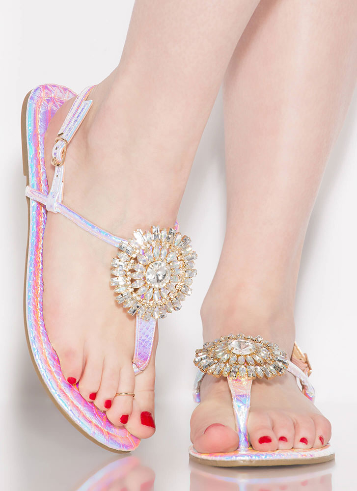 Big Sparkle Metallic Jeweled Sandals PINK