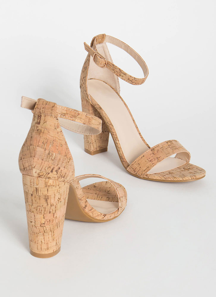 Cork Fiend Chunky Ankle Strap Heels NATURAL