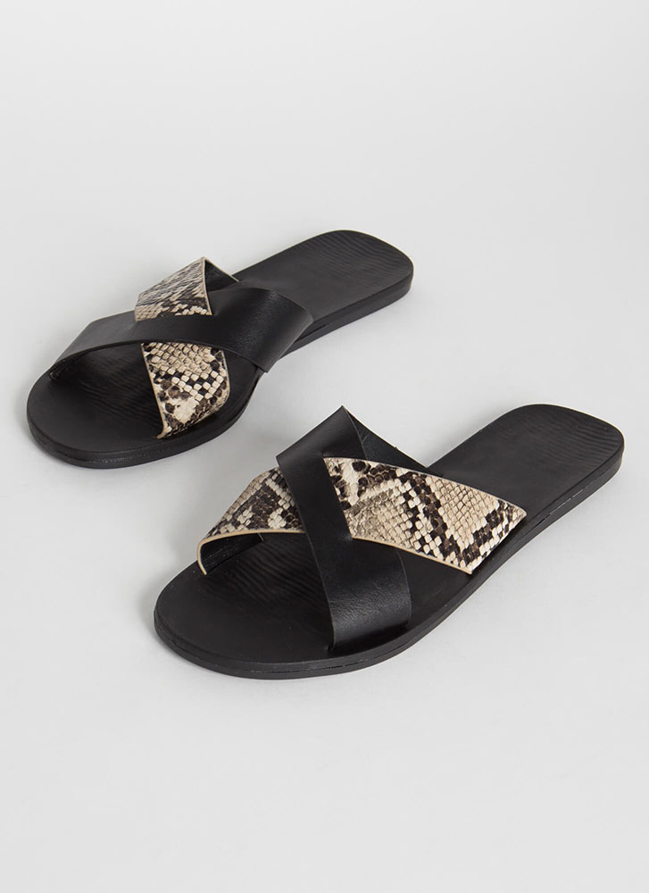 Part Snake X-Strap Slide Sandals BLACK