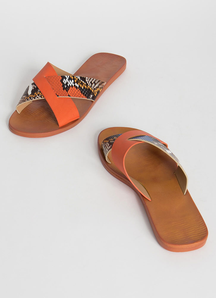 Part Snake X-Strap Slide Sandals ORANGE
