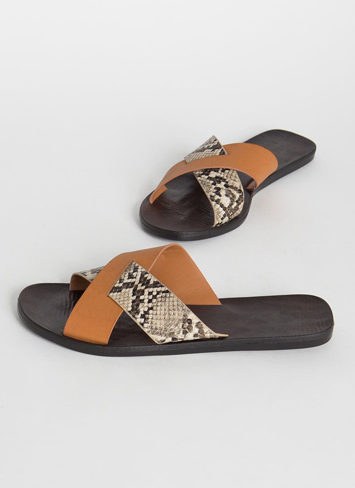 Part Snake X-Strap Slide Sandals TAN