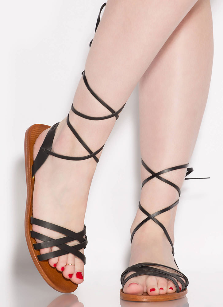 Strappy Times Ahead Lace-Up Sandals BLACK