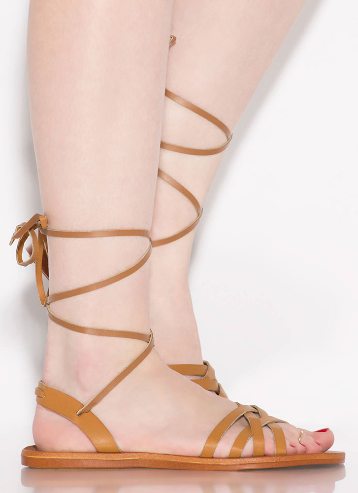 Strappy Times Ahead Lace-Up Sandals TAN