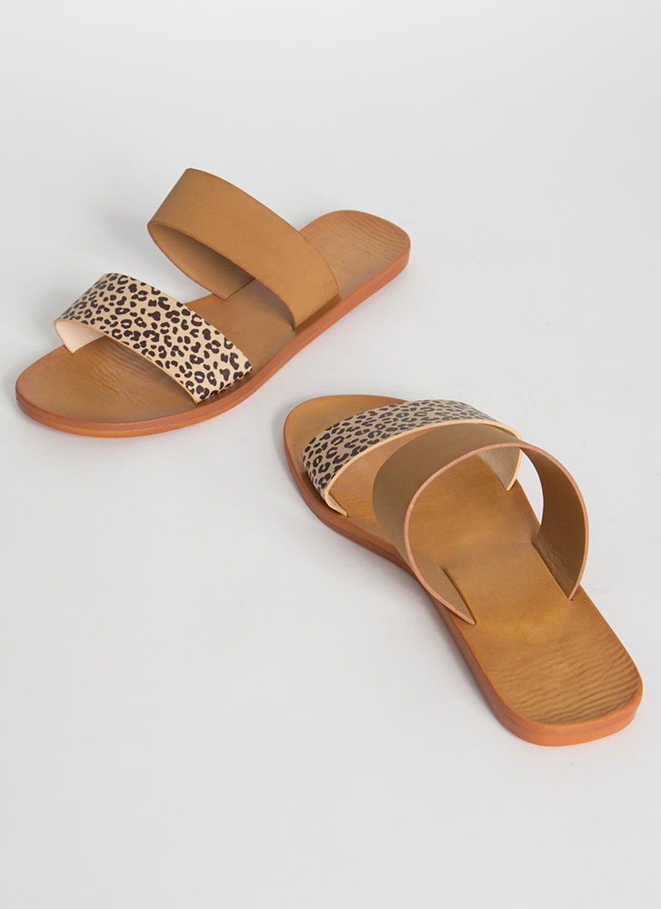 Animal Lover Leopard Slide Sandals CHEETAH