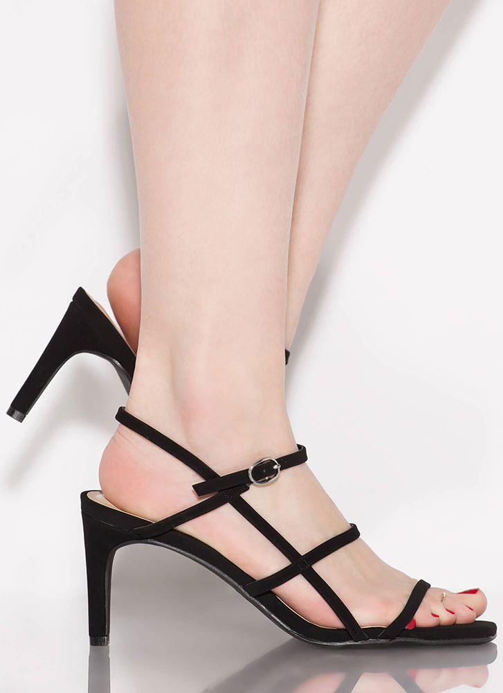 Cage Limit Faux Nubuck Strappy Heels BLACK