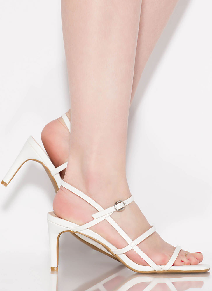 Cage Limit Faux Leather Strappy Heels WHITE