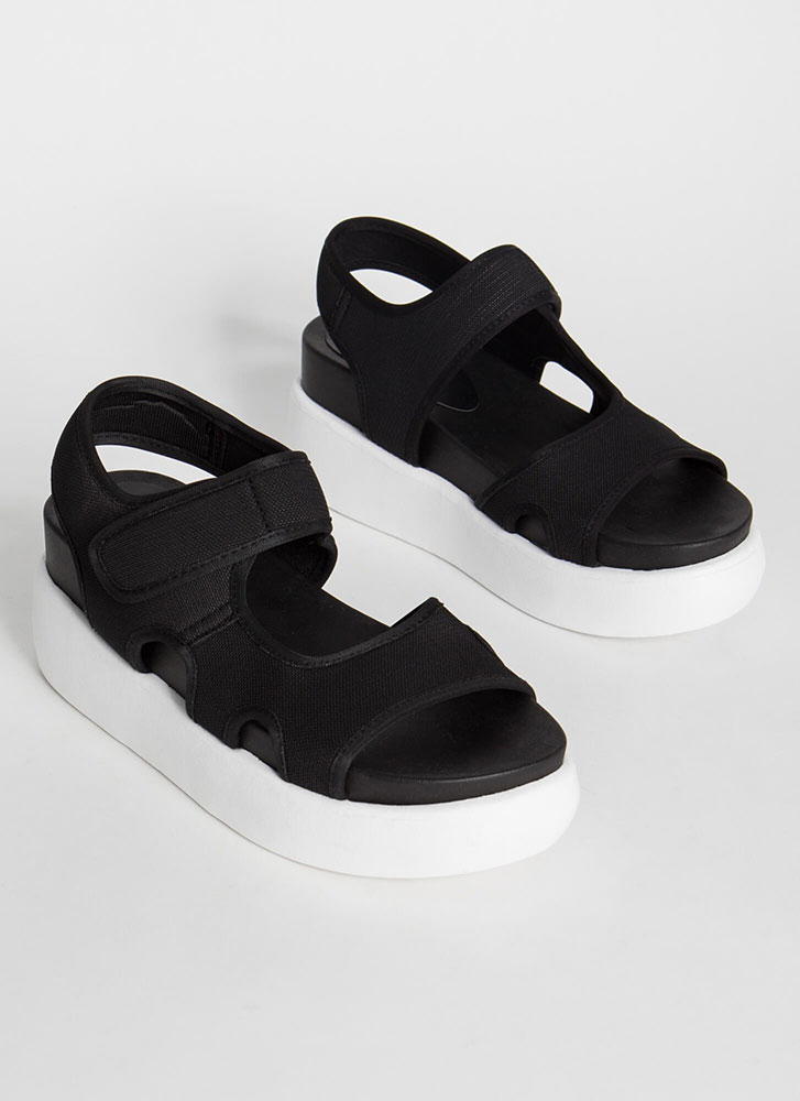 High Spirits Cut-Out Wedge Sandals BLACK