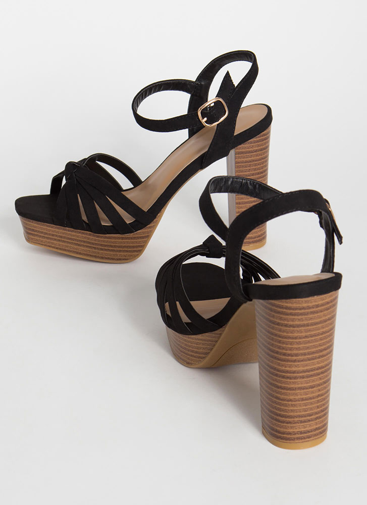 It's A Date Chunky Strappy Platforms BLACK