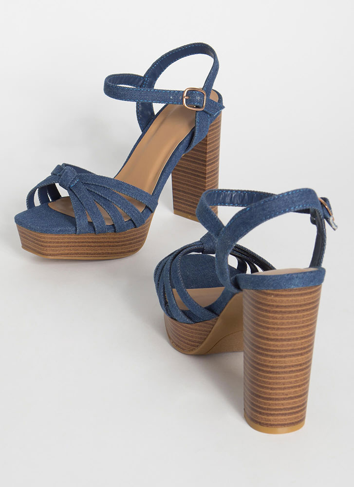 It's A Date Chunky Denim Platforms BLUE