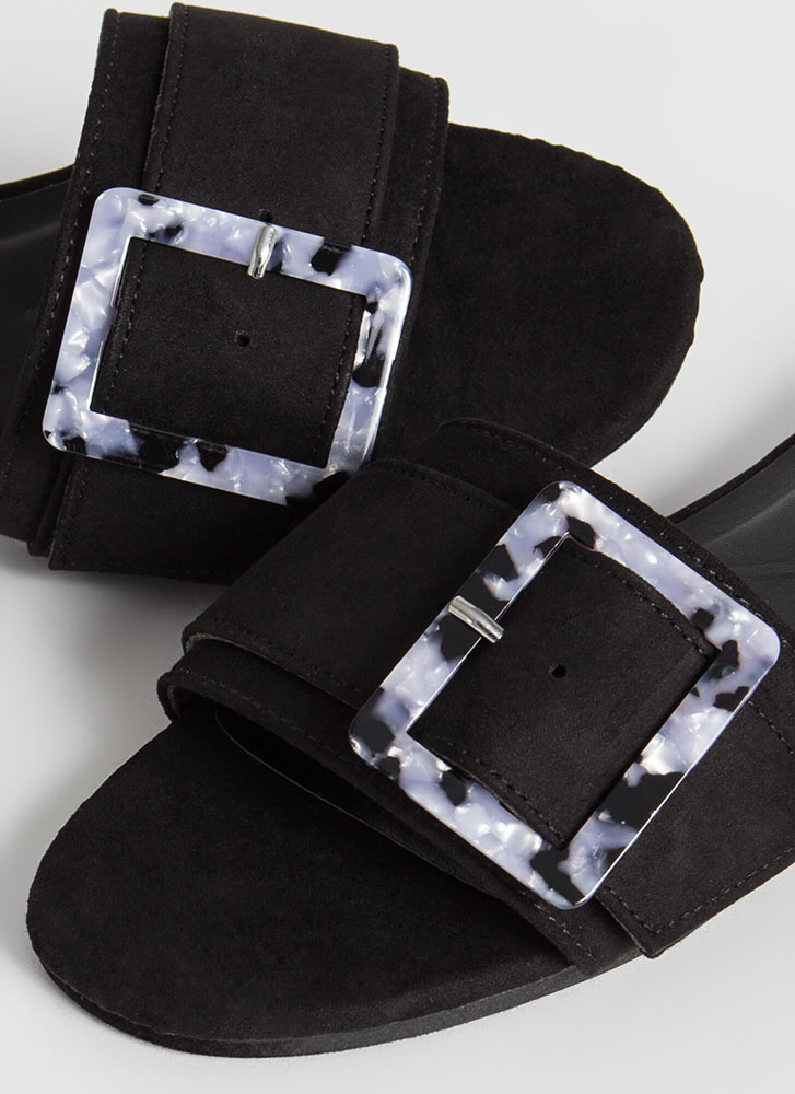 Luxe Leisure Buckled Slide Sandals BLACK