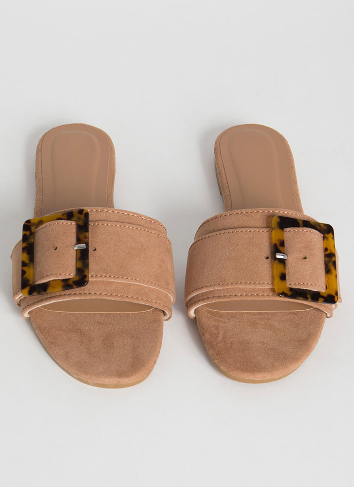 Luxe Leisure Buckled Slide Sandals CAMEL