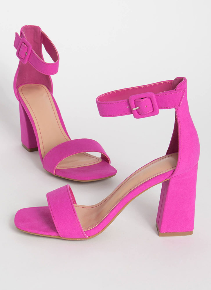 Fashion Buyer Chunky Faux Suede Heels HOTPINK