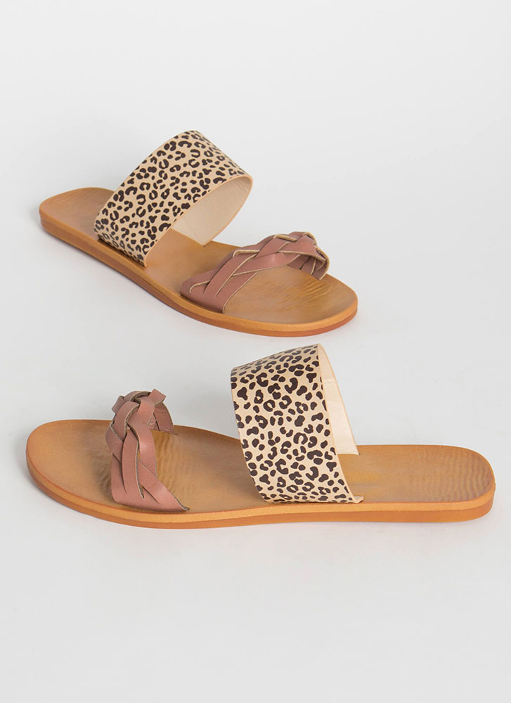 Leaping Leopard Braided Slide Sandals MAUVE