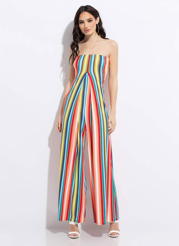 Palazzo Party Strapless Striped Jumpsuit MULTI