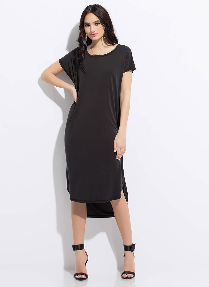 Shift Happens Midi Shirt Dress BLACK