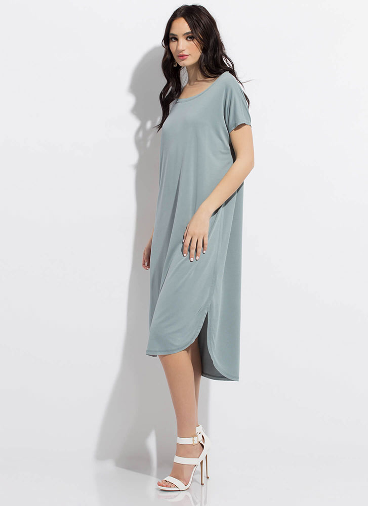 Shift Happens Midi Shirt Dress BLUE
