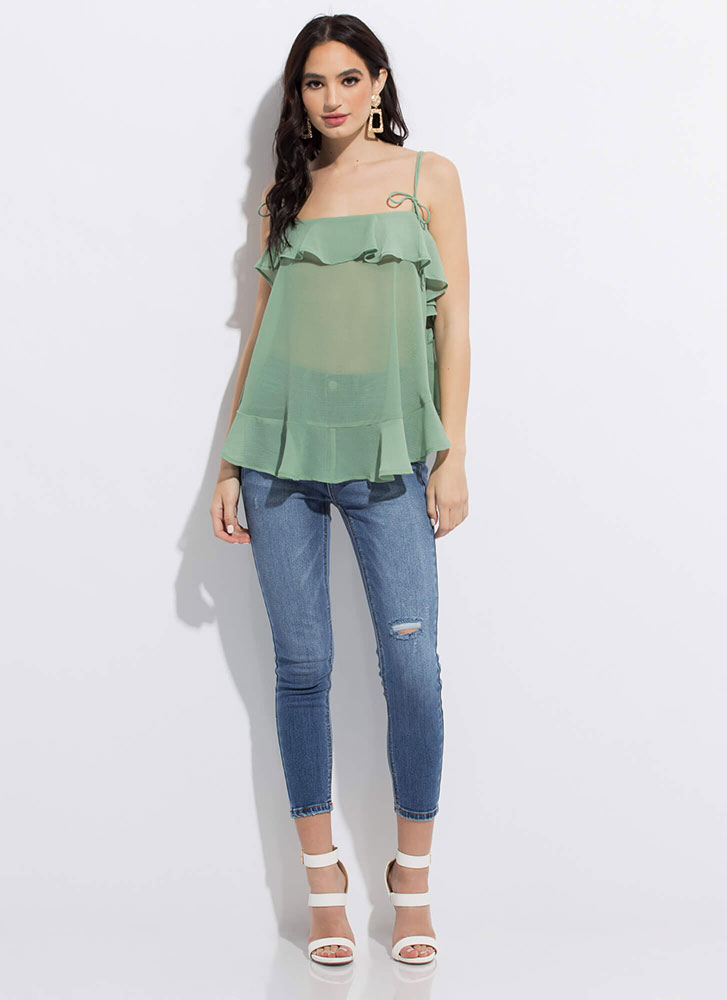 Light And Airy Ruffled Tie-Strap Top GREEN