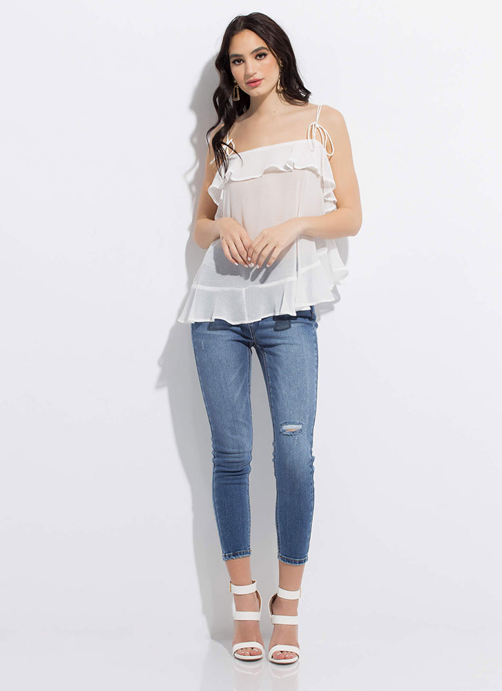 Light And Airy Ruffled Tie-Strap Top WHITE