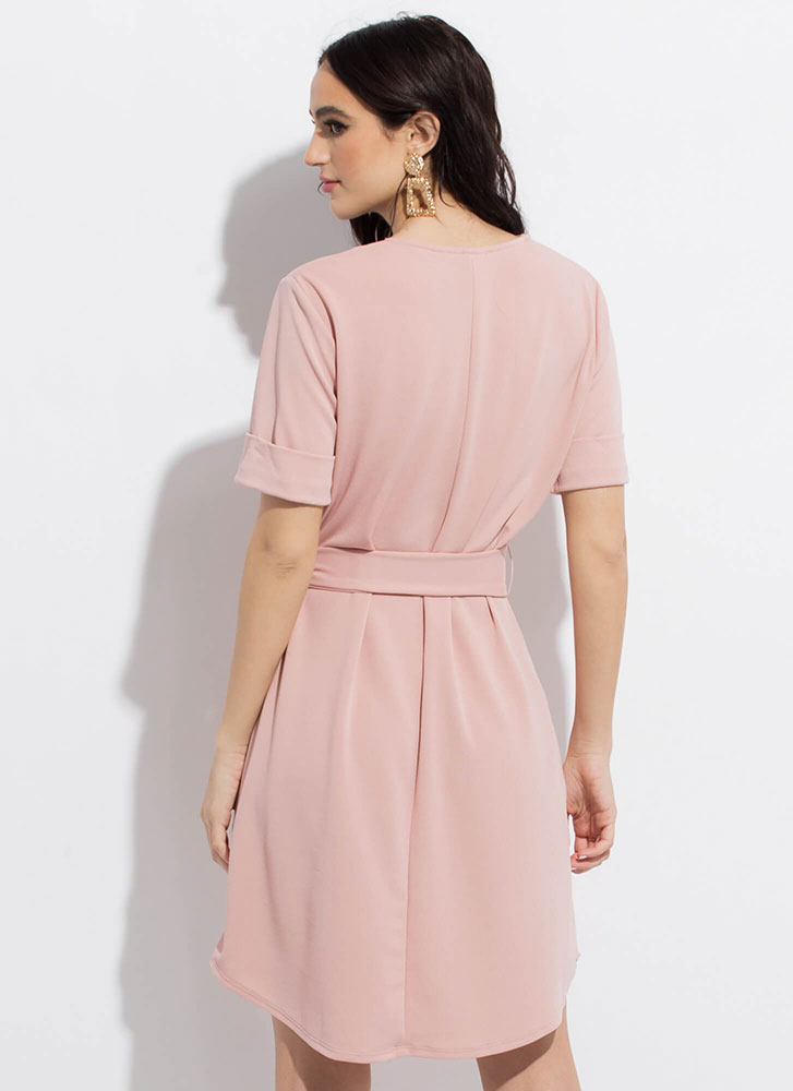Shift In Perspective Tied Midi Dress MAUVE