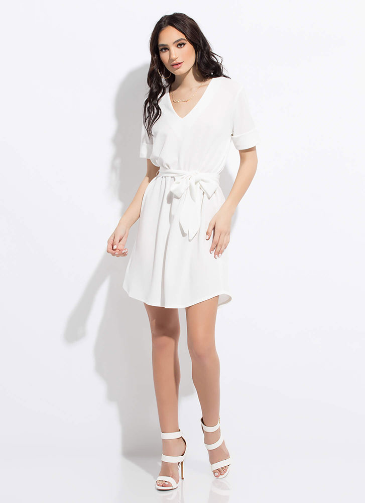 Shift In Perspective Tied Midi Dress WHITE
