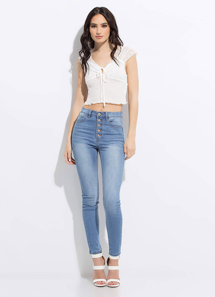 A Little Lace Tied Smocked Crop Top WHITE