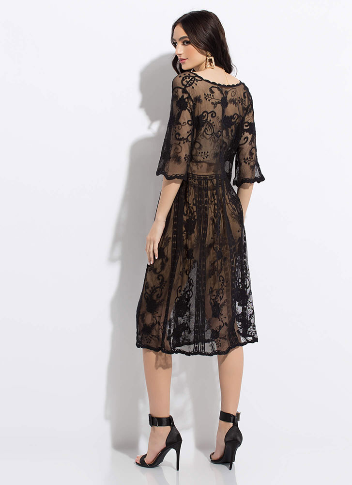 Sheer Elegance Embroidered Lace Duster BLACK