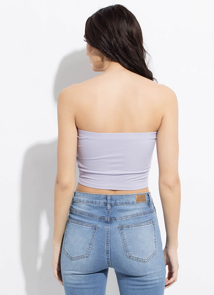 Knot On The Clock Cropped Tied Tube Top LILAC