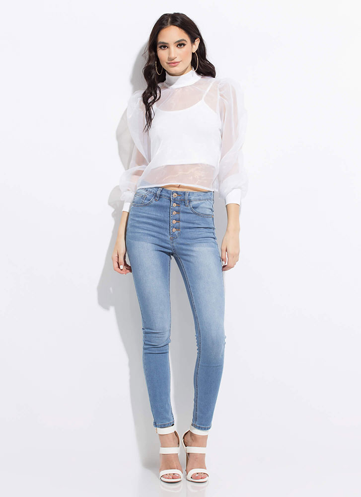 Over Under Layered Sheer Mesh Blouse WHITE