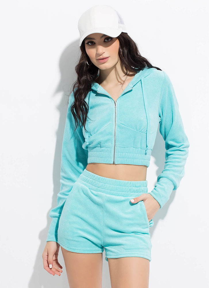 Terry On Cropped Hoodie And Shorts Set BLUE
