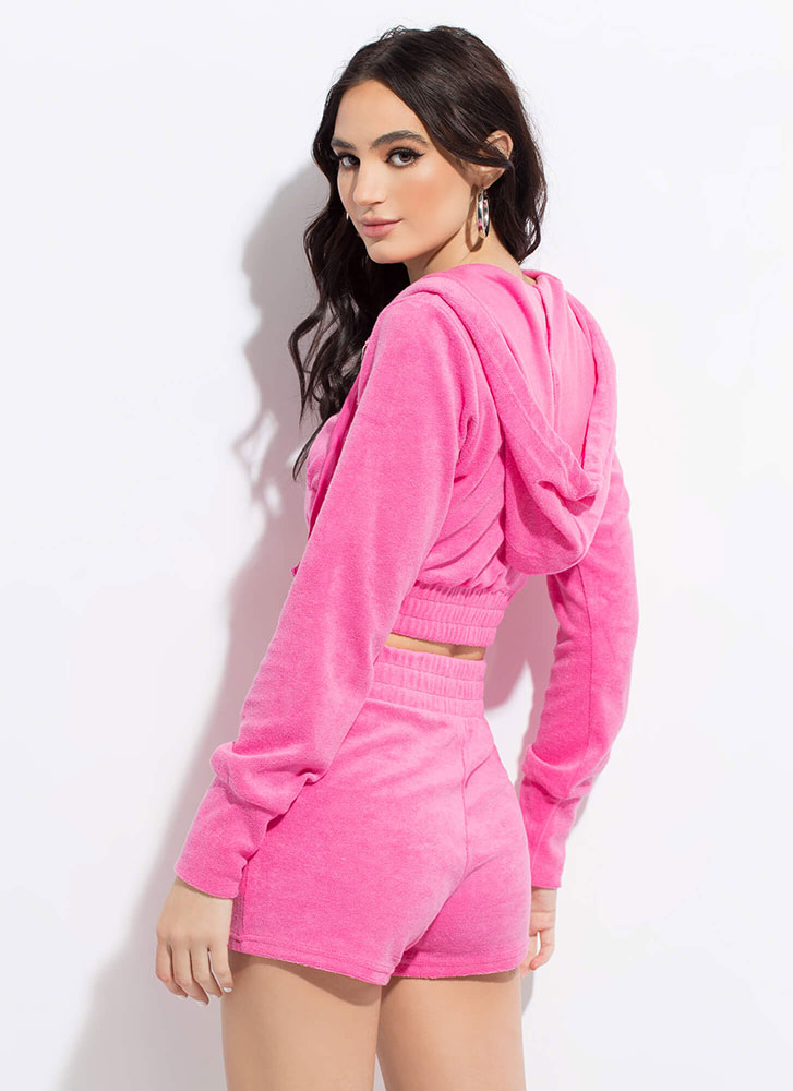 Terry On Cropped Hoodie And Shorts Set PINK