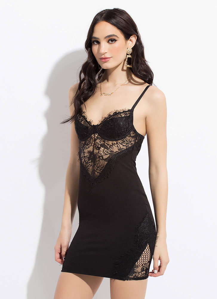 Hot Nights Netted Lace Minidress BLACK