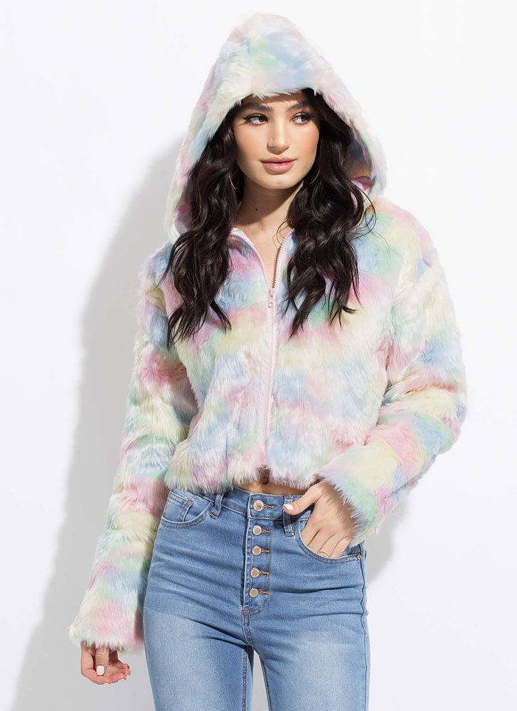 Cotton Candy Dyed Hooded Faux Fur Jacket MULTI (Final Sale)