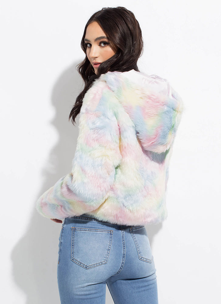 Cotton Candy Dyed Hooded Faux Fur Jacket MULTI