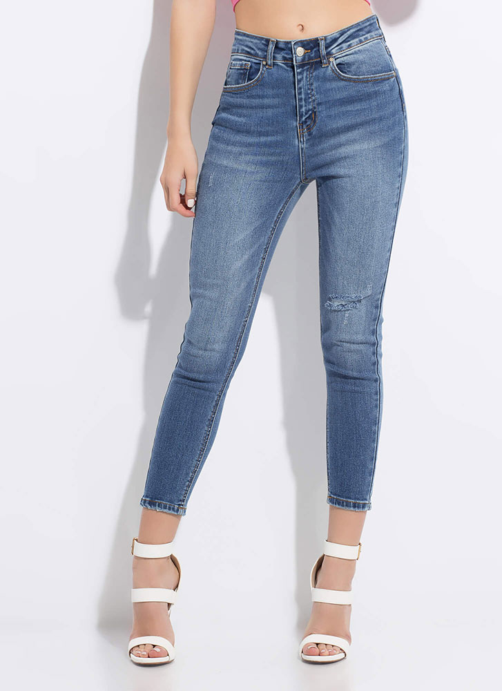 Short Notice Cropped Skinny Jeans MEDBLUE