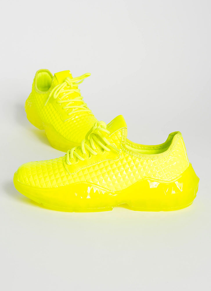 New Dimension Tile-Textured Sneakers YELLOW
