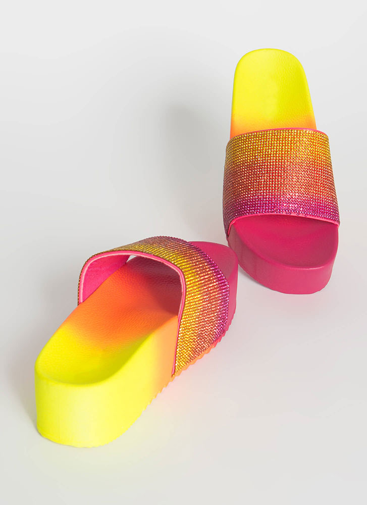 Get Thick Jeweled Ombre Platform Sandals FUCHSIA