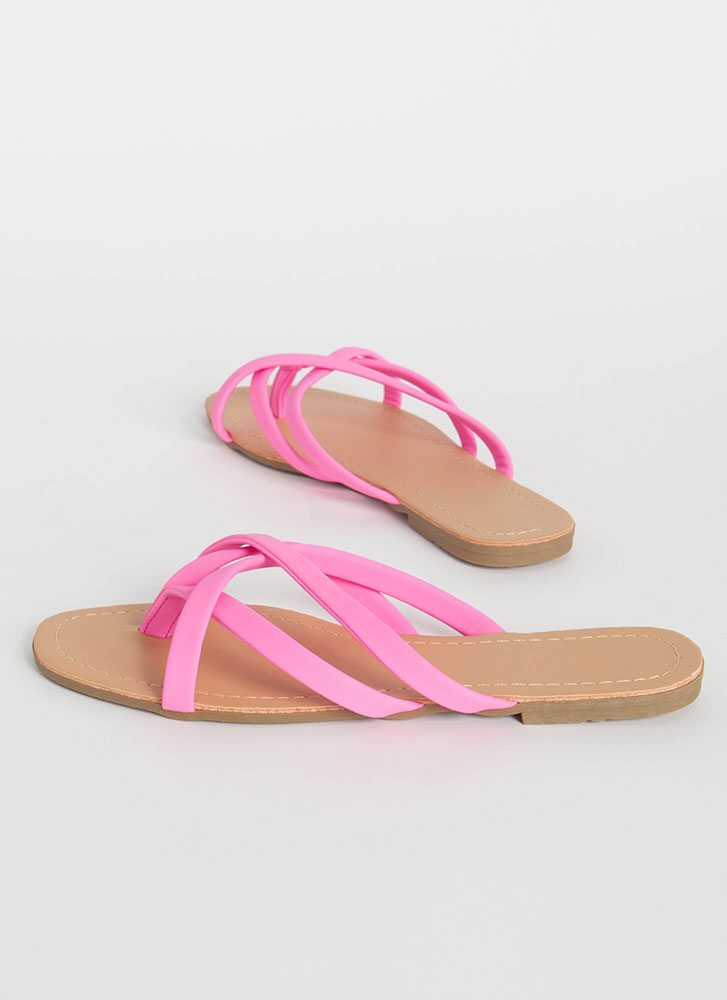 Cute Idea Strappy Caged Thong Sandals PINK