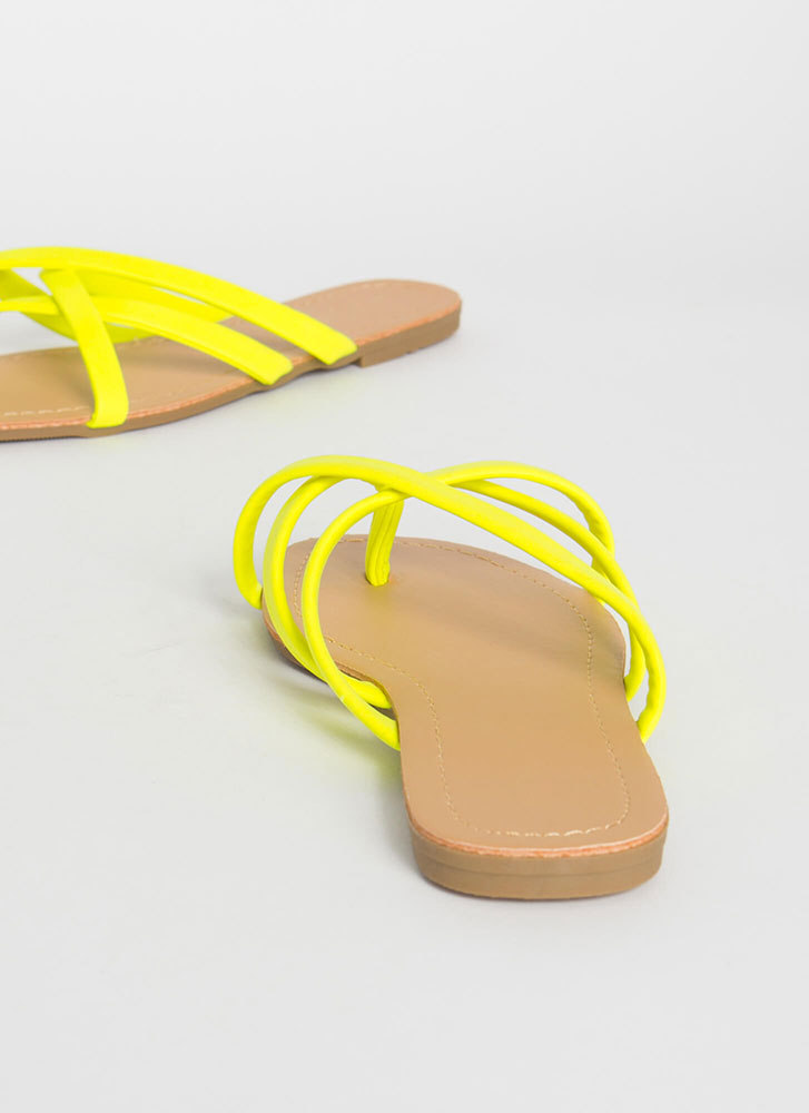 Cute Idea Strappy Caged Thong Sandals YELLOW