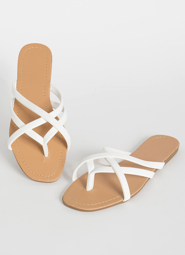 Cute Idea Caged Strappy Thong Sandals WHITE