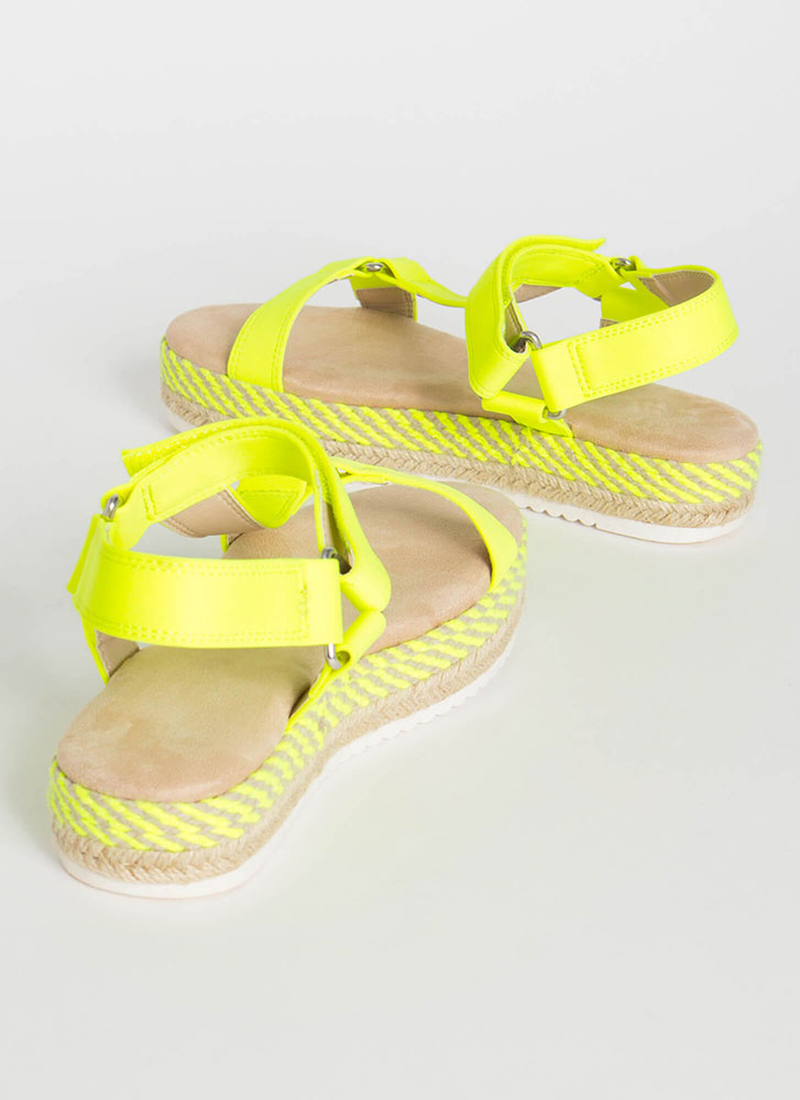 Harness Your Luck Woven Platform Sandals NYELLOW