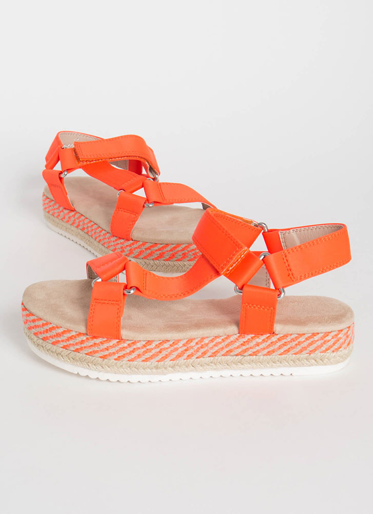 Harness Your Luck Woven Platform Sandals ORANGE